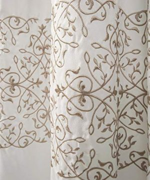 MISC Beige Embroider Shower Curtain Horizontal Floral Scroll Vine Embroidered Pattern Farmhouse Feminine Bathroom Decor Polyester 72x72 0 2 300x360