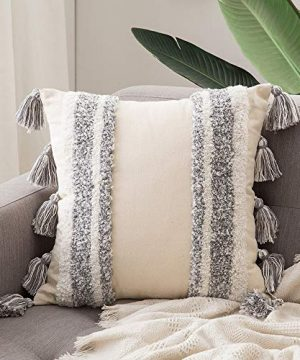 MIULEE Decorative Throw Pillow Cover Tribal Boho Woven Tufted Pillowcase With Tassels Super Square Pillow Sham Pillowcase Cushion Case For Sofa Couch Bedroom Car Living Room 18X18 Inch Grey 0 300x360