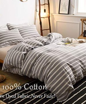 MMeagle 3 Pieces Grey Stripe Duvet Cover Queen100 Washed Cotton Yarn Dyed Duvet Cover With Button ClosureUltra Soft Natural Cotton Bedding Set Queen Size1 Duvet Cover 2 Pillowcases 0 0 300x360
