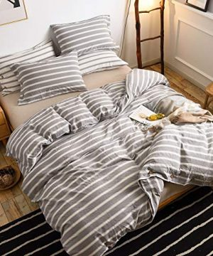 MMeagle 3 Pieces Grey Stripe Duvet Cover Queen100 Washed Cotton Yarn Dyed Duvet Cover With Button ClosureUltra Soft Natural Cotton Bedding Set Queen Size1 Duvet Cover 2 Pillowcases 0 1 300x360
