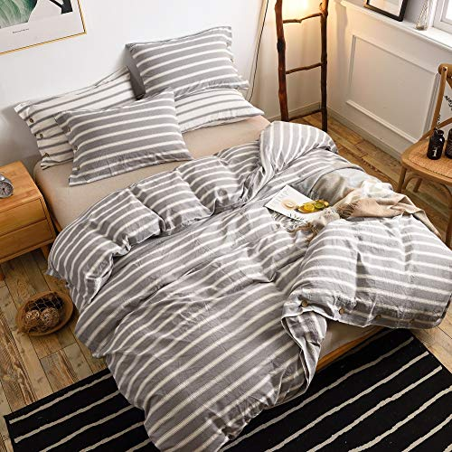 MMeagle 3 Pieces Grey Stripe Duvet Cover Queen100 Washed Cotton Yarn Dyed Duvet Cover With Button ClosureUltra Soft Natural Cotton Bedding Set Queen Size1 Duvet Cover 2 Pillowcases 0 1