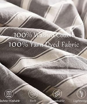 MMeagle 3 Pieces Grey Stripe Duvet Cover Queen100 Washed Cotton Yarn Dyed Duvet Cover With Button ClosureUltra Soft Natural Cotton Bedding Set Queen Size1 Duvet Cover 2 Pillowcases 0 2 300x360