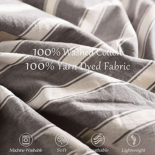 MMeagle 3 Pieces Grey Stripe Duvet Cover Queen100 Washed Cotton Yarn Dyed Duvet Cover With Button ClosureUltra Soft Natural Cotton Bedding Set Queen Size1 Duvet Cover 2 Pillowcases 0 2
