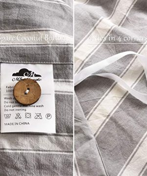 MMeagle 3 Pieces Grey Stripe Duvet Cover Queen100 Washed Cotton Yarn Dyed Duvet Cover With Button ClosureUltra Soft Natural Cotton Bedding Set Queen Size1 Duvet Cover 2 Pillowcases 0 3 300x360