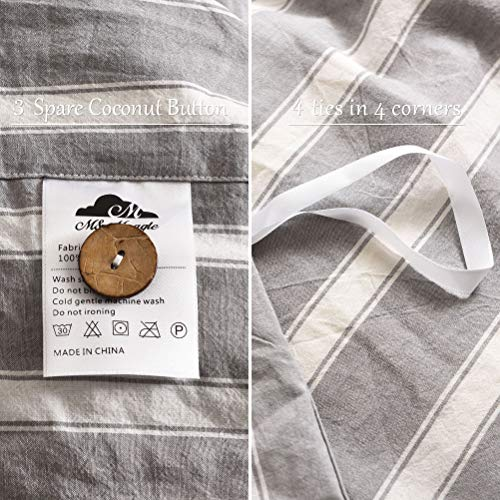 MMeagle 3 Pieces Grey Stripe Duvet Cover Queen100 Washed Cotton Yarn Dyed Duvet Cover With Button ClosureUltra Soft Natural Cotton Bedding Set Queen Size1 Duvet Cover 2 Pillowcases 0 3