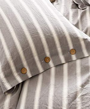 MMeagle 3 Pieces Grey Stripe Duvet Cover Queen100 Washed Cotton Yarn Dyed Duvet Cover With Button ClosureUltra Soft Natural Cotton Bedding Set Queen Size1 Duvet Cover 2 Pillowcases 0 5 300x360