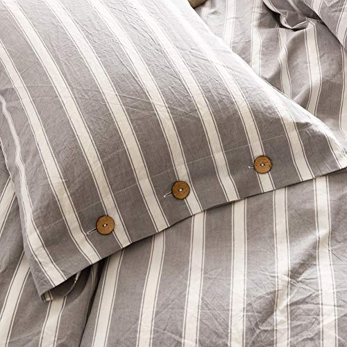 MMeagle 3 Pieces Grey Stripe Duvet Cover Queen100 Washed Cotton Yarn Dyed Duvet Cover With Button ClosureUltra Soft Natural Cotton Bedding Set Queen Size1 Duvet Cover 2 Pillowcases 0 5