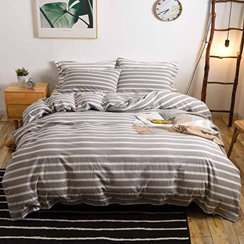 MMeagle 3 Pieces Grey Stripe Duvet Cover Queen100 Washed Cotton Yarn Dyed Duvet Cover With Button ClosureUltra Soft Natural Cotton Bedding Set Queen Size1 Duvet Cover 2 Pillowcases 0