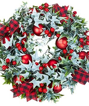 MTSCE Window Wreath Christmas Ivy Garland With Christmas Balls Red Berries Ribbon For Front Door Indoor Outdoor Wall Christmas Decorations 18 In 0 300x360