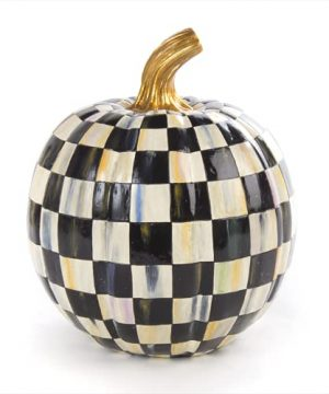 MacKenzie Childs Courtly Check Black And White Small Decorative Pumpkin For Fall Decor Autumn Decorations For Home 0 300x360
