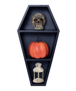 Mannys Mysterious Oddities Coffin Shelf Spooky Gothic Decor For The Home Black Floating Wooden Shelf For Wall Or Table Top 14 Inches Tall By 7 Inches Wide 0 300x360