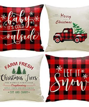 Meekio Christmas Decorations For Home Set Of 4 Christmas Red Buffalo Check Pillow Covers 18 X 18 Inch Christmas Truck Farmhouse Christmas Cushion Covers For Christmas Decor 0 300x360