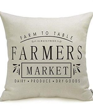 Meekio Farmhouse Pillow Covers With Farmers Market Quotes 18 X 18 For Farmhouse Decor Housewarming Gifts 0 300x360