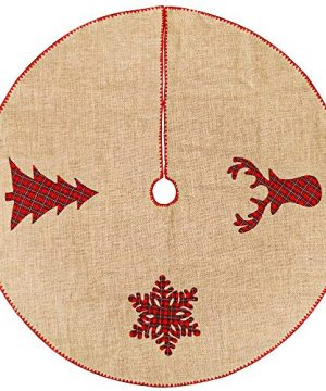 Meriwoods Burlap Christmas Tree Skirt 48 Inch Large Natural Jute Tree Collar With Buffalo Plaid Snowflake Reindeer Country Rustic Indoor Xmas Decorations 0 0 300x360