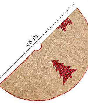 Meriwoods Burlap Christmas Tree Skirt 48 Inch Large Natural Jute Tree Collar With Buffalo Plaid Snowflake Reindeer Country Rustic Indoor Xmas Decorations 0 1 300x360