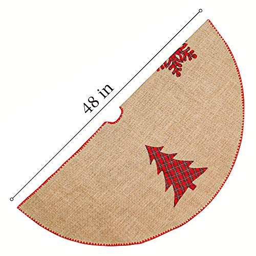 Meriwoods Burlap Christmas Tree Skirt 48 Inch Large Natural Jute Tree Collar With Buffalo Plaid Snowflake Reindeer Country Rustic Indoor Xmas Decorations 0 1