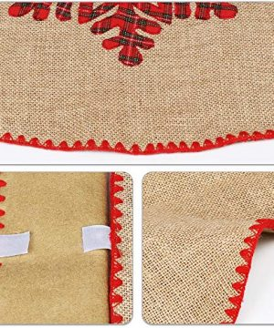 Meriwoods Burlap Christmas Tree Skirt 48 Inch Large Natural Jute Tree Collar With Buffalo Plaid Snowflake Reindeer Country Rustic Indoor Xmas Decorations 0 2 300x360