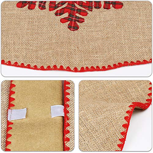 Meriwoods Burlap Christmas Tree Skirt 48 Inch Large Natural Jute Tree Collar With Buffalo Plaid Snowflake Reindeer Country Rustic Indoor Xmas Decorations 0 2