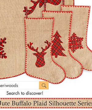 Meriwoods Burlap Christmas Tree Skirt 48 Inch Large Natural Jute Tree Collar With Buffalo Plaid Snowflake Reindeer Country Rustic Indoor Xmas Decorations 0 3 300x360