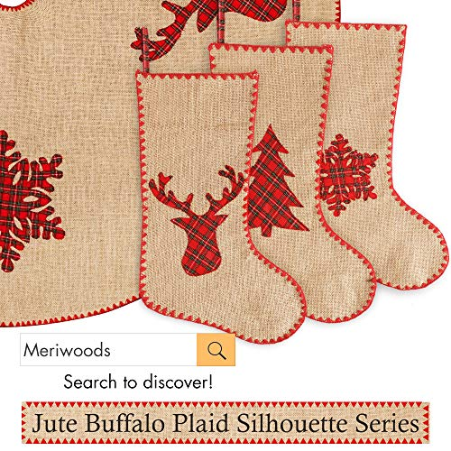 Meriwoods Burlap Christmas Tree Skirt 48 Inch Large Natural Jute Tree Collar With Buffalo Plaid Snowflake Reindeer Country Rustic Indoor Xmas Decorations 0 3