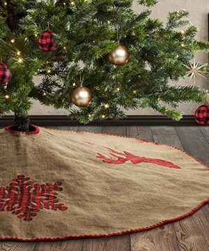Meriwoods Burlap Christmas Tree Skirt 48 Inch Large Natural Jute Tree Collar With Buffalo Plaid Snowflake Reindeer Country Rustic Indoor Xmas Decorations 0 300x360