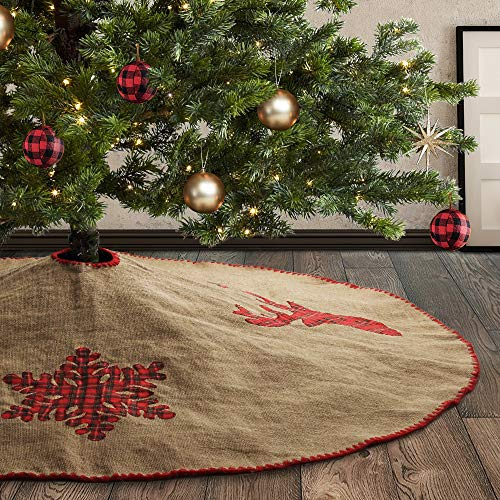 Meriwoods Burlap Christmas Tree Skirt 48 Inch Large Natural Jute Tree Collar With Buffalo Plaid Snowflake Reindeer Country Rustic Indoor Xmas Decorations 0