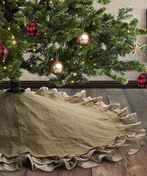 Meriwoods Burlap Christmas Tree Skirt 48 Inch Large Natural Jute Tree Collar With Ruffled Linen Trim Country Rustic Indoor Xmas Decorations 0 300x360