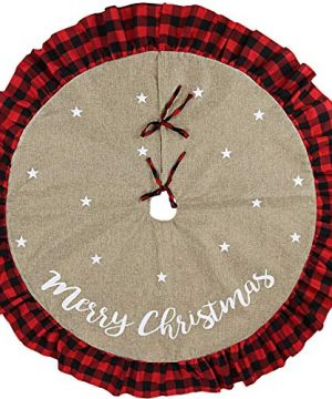Meriwoods Burlap Christmas Tree Skirt 48 Inch Large Tree Collar With Ruffled Buffalo Plaid Trim Country Rustic Indoor Xmas Decorations 0 300x360