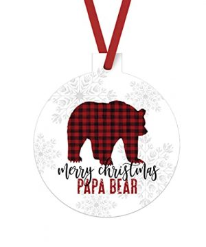 Merry Christmas Papa Bear Ornament Rustic Christmas Tree Decorations Red And Black Daddy Xmas Gift Ideas Husband Stocking Stuffer Holiday Present From Kids 3x3 Size Double Sided Design 0 300x360