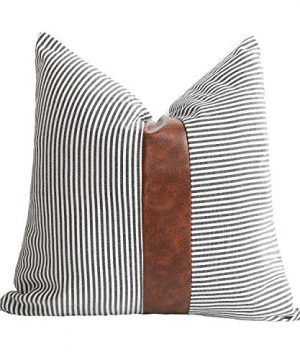 Merrycolor Farmhouse Decorative Throw Pillow Covers For Couch Stripe Faux Leather Accent Pillow Cover Boho Modern Decor Pillow Case 18 X 18 InchBlack 0 300x360