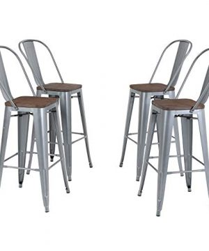 Metal Bar Stool 30 Set Of 4 With Removable Backrest Dining Counter Height Chairs Wood Seat Stackable For Kitchen Bar Indoor Outdoor Matte Silver Grey 0 300x360