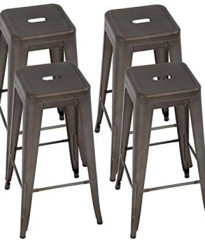 Metal Bar Stools Set Of 4 Counter Height Bar Stool 30 Barstools Industrial Patio Stool Stackable Stool Modern Backless IndoorOutdoor Metal Bar Kitchen Counter Stools Chairs 0 300x360