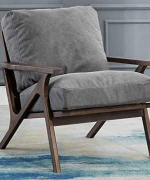 Mid Century Chair Upholstered Accent Armchair With Wood Frame And Canvas Cushions Leisure Slipper Chair For Living RoomBedroom Grey 0 300x360