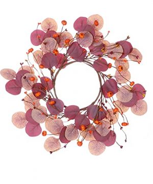 Mini Fall Wreath15 Artificial Autumn Wreath Fall Eucalyptus Wreath With Pip Berries For Front Door Wall Window And Thanksgiving Decor 0 300x360