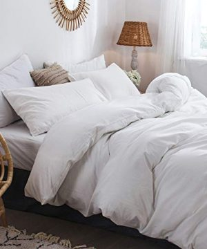 MooMee Bedding Duvet Cover Set 100 Washed Cotton Linen Like Textured Breathable Durable Soft Comfy White Twin 0 0 300x360