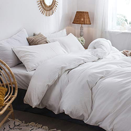 MooMee Bedding Duvet Cover Set 100 Washed Cotton Linen Like Textured Breathable Durable Soft Comfy White Twin 0 0