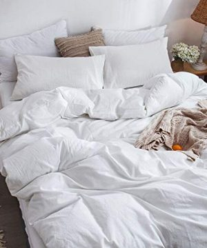 MooMee Bedding Duvet Cover Set 100 Washed Cotton Linen Like Textured Breathable Durable Soft Comfy White Twin 0 1 300x360
