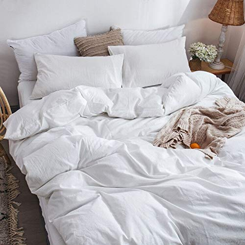 MooMee Bedding Duvet Cover Set 100 Washed Cotton Linen Like Textured Breathable Durable Soft Comfy White Twin 0 1