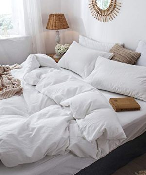 MooMee Bedding Duvet Cover Set 100 Washed Cotton Linen Like Textured Breathable Durable Soft Comfy White Twin 0 2 300x360