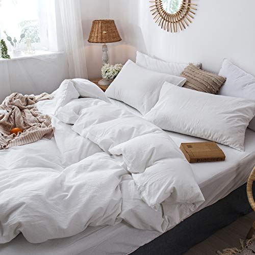 MooMee Bedding Duvet Cover Set 100 Washed Cotton Linen Like Textured Breathable Durable Soft Comfy White Twin 0 2