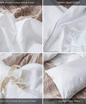 MooMee Bedding Duvet Cover Set 100 Washed Cotton Linen Like Textured Breathable Durable Soft Comfy White Twin 0 4 300x360
