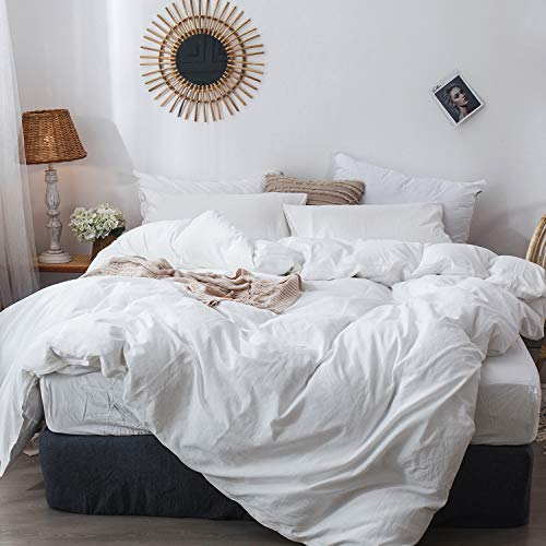 MooMee Bedding Duvet Cover Set 100 Washed Cotton Linen Like Textured Breathable Durable Soft Comfy White Twin 0
