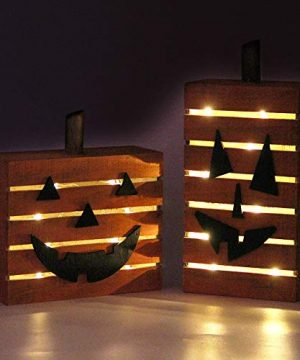 MorTime 2 Pack Pumpkin Wooden Light Halloween Decorations Harvest Fall Thanksgiving Party Decoration With LED Light 0 300x360