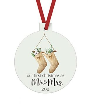 Mr And Mrs First Christmas Ornament Rustic Newlywed Christmas Tree Decorations Greenery Farmhouse Style Bride And Groom Gift Ideas Xmas Present For Wedding 3x3 Size Double Sided Design 0 300x360