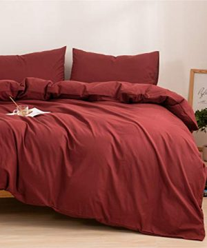 Mucalis Burgundy Duvet Cover Queen 100 Washed Cotton Duvet Cover Set FullQueen 3pc Solid Modern Farmhouse Bedding Duvet Cover Set With Zipper Closure Corner Ties No Comforter 0 0 300x360