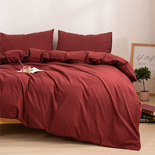 Mucalis Burgundy Duvet Cover Queen 100 Washed Cotton Duvet Cover Set FullQueen 3pc Solid Modern Farmhouse Bedding Duvet Cover Set With Zipper Closure Corner Ties No Comforter 0 0