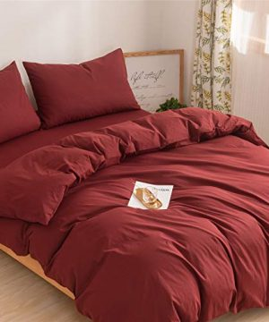 Mucalis Burgundy Duvet Cover Queen 100 Washed Cotton Duvet Cover Set FullQueen 3pc Solid Modern Farmhouse Bedding Duvet Cover Set With Zipper Closure Corner Ties No Comforter 0 1 300x360