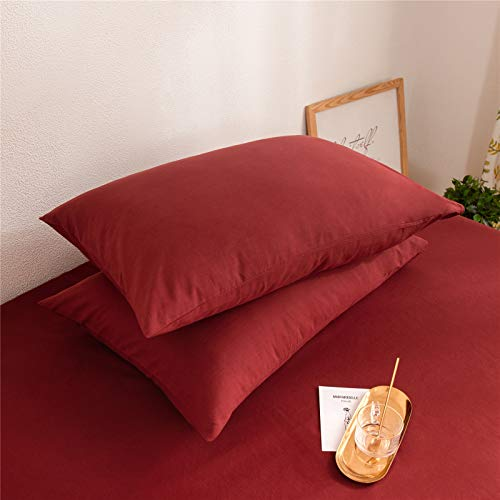Mucalis Burgundy Duvet Cover Queen 100 Washed Cotton Duvet Cover Set FullQueen 3pc Solid Modern Farmhouse Bedding Duvet Cover Set With Zipper Closure Corner Ties No Comforter 0 2
