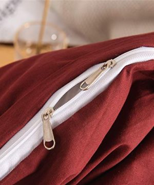 Mucalis Burgundy Duvet Cover Queen 100 Washed Cotton Duvet Cover Set FullQueen 3pc Solid Modern Farmhouse Bedding Duvet Cover Set With Zipper Closure Corner Ties No Comforter 0 3 300x360