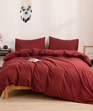 Mucalis Burgundy Duvet Cover Queen 100 Washed Cotton Duvet Cover Set FullQueen 3pc Solid Modern Farmhouse Bedding Duvet Cover Set With Zipper Closure Corner Ties No Comforter 0 300x360